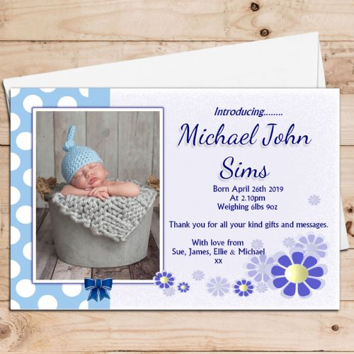 10 Personalised Baby Boy Birth Announcement Thank You PHOTO cards N57
